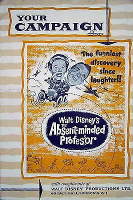 ABSENT-MINDED PROFESSOR 1960 Fred MacMurray WALT DISNEY Flivver UK PRESSBOOK