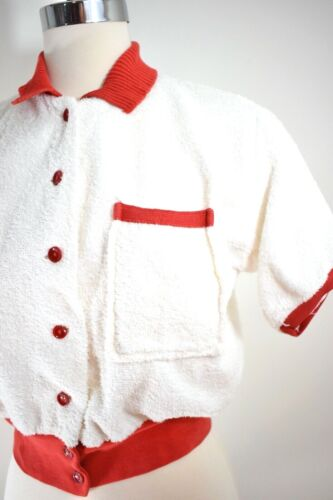 40s VTG ~ Terry Cloth Top w/ Red Knit Trim / Celluloid Buttons ~ GYM / Sports ~M