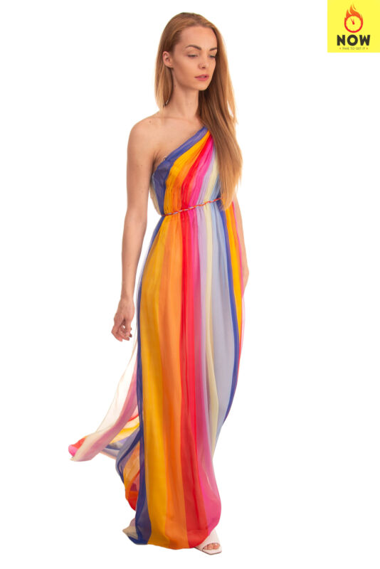 RRP €3790 CAROLINA HERRERA Silk Greek Style Gown Size 4 / S Striped One Shoulder