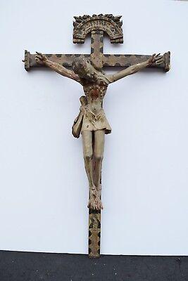"+ Wood Hand Carved Crucifix + 38 1/2"" x 21 3/4"" + 17th / 18th Century (CU707) +"