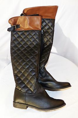 Authentic BLACK and Brown Women's Leather Boots Knee High 7.5-8