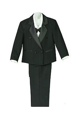 Boy Baby Kid Wedding Formal Wear Party Black 5pc Double Breast Suit Tuxedo S-XL ()