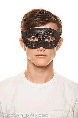 Men's Handsome Black Venetian Masquerade Mask Mardi Gras Wedding Prom Brand NEW