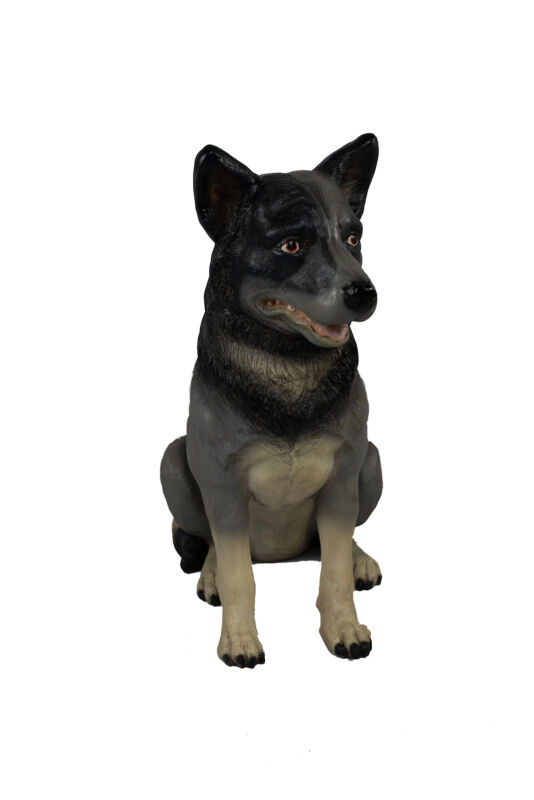 """25"""" Black and Brown Life Size Blue Heeler Dog Puppy Resin Statue Prop Display"""