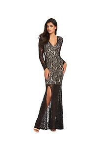 Forever Unique Kelsie Lace Maxi Dress in Black / White Size 6
