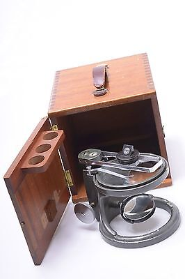 C. Baker London Sectiondissecting Microscope In Mahogony Wooden Box