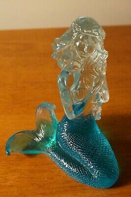 Crystal Clear Acrylic Teal Mermaid Tail Figurine Nautical Beach Home Decor NEW