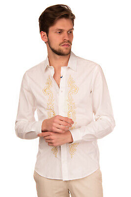 RRP €210 VERSACE JEANS Shirt Size 48 / M Lame Embroidered Floral Regular Collar