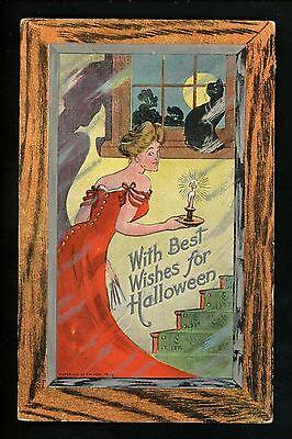 Halloween Postcard Rose RO10-2 woman black cat Frame Border - Halloween Frames Borders