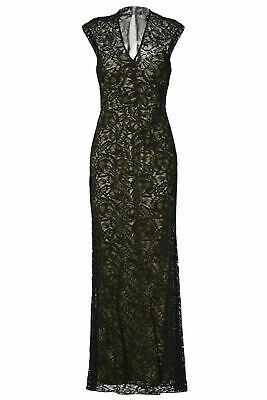 Theia Women's Dress Black Size 14 Gown Floral Lace Cutout V-Neck $995- #051