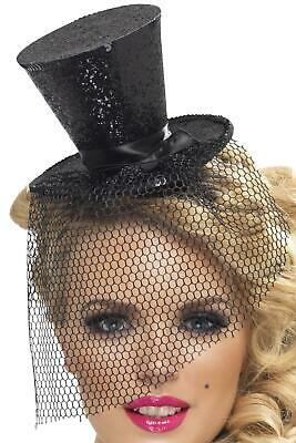 Black Glitter Mini Top Hat on a Headband New Years Eve Burlesque](New Years Top Hats)