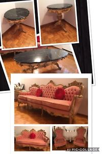 4 piece antique couch set and 3 coffe tables