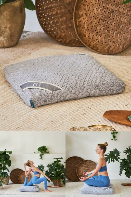 Crystal Cove Square Meditation Cushion Only Sustainable Buckwheat Hull Fill