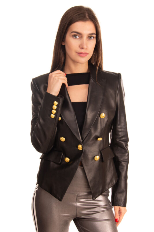RRP €1170 VERONICA BEARD Leather Blazer Jacket Size 4 Black Peak Lapel Collar