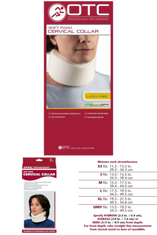 Otc Cervical Collar, Soft Foam, Neck Support Brace, Medium
