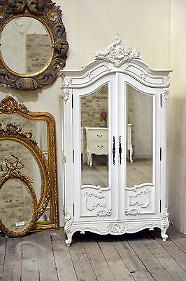 French Rococo Antique White Armoire Wardrobe with bevelled Mirrored Doors