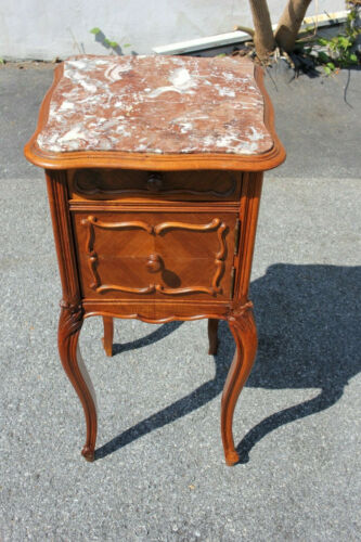 19th Century French Marble Top Walnut Commode Nightstand