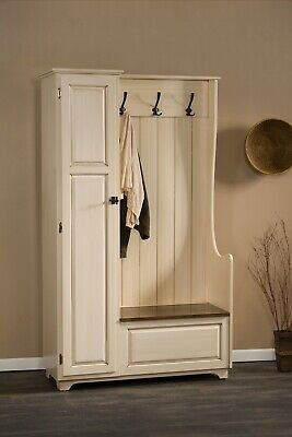 Amish Country Painted Wood Hall Tree Storage Bench Hallway Entryway Seat Coat -