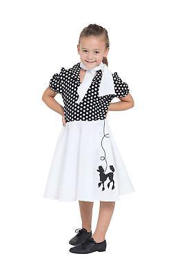 Pudel Kleid Kinder Blk / Weiß Spot 116cm, 50s, Mädchen (oder Jungen (Pudel Kleid Kostüm Kinder)