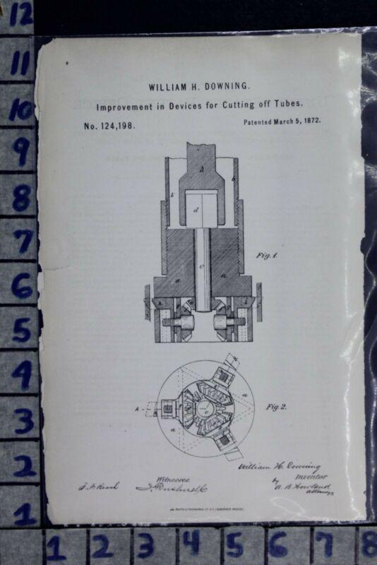 1872 DOWNING MASSETH SHAMBURG PA ARTESIAN WELL TUBE CUTTER PATENT LITHO 124198