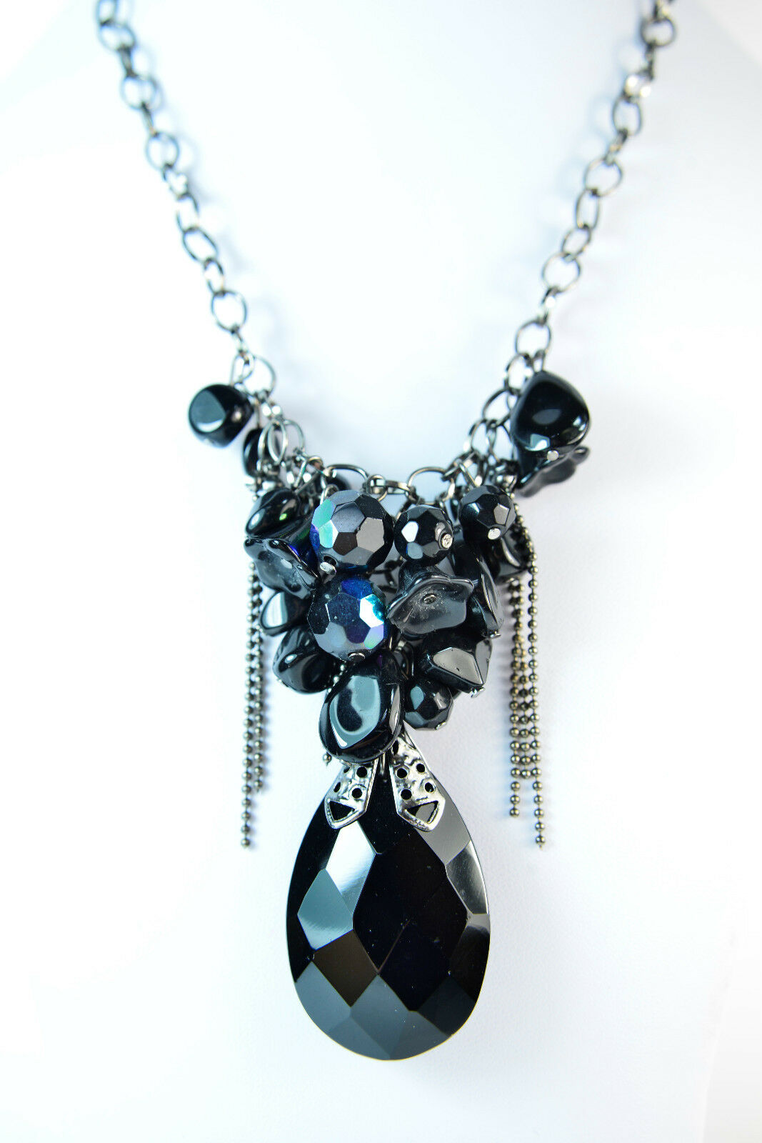 LADIES CHUNKY CHAIN SPIKED DARK STONE SILVER NECKLACE STATEMENT PIECE CL9