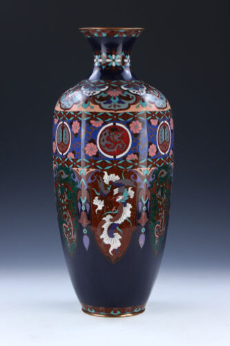 A BIG CHINESE CLOISONNE ON BRONZE VASE
