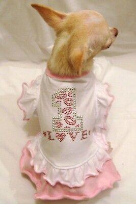 Dog Dress/Dog Clothing/Dog T shirt/ #1 Love Ruffle Dog Dress-SIZE M FREE (Love Dog Dress)
