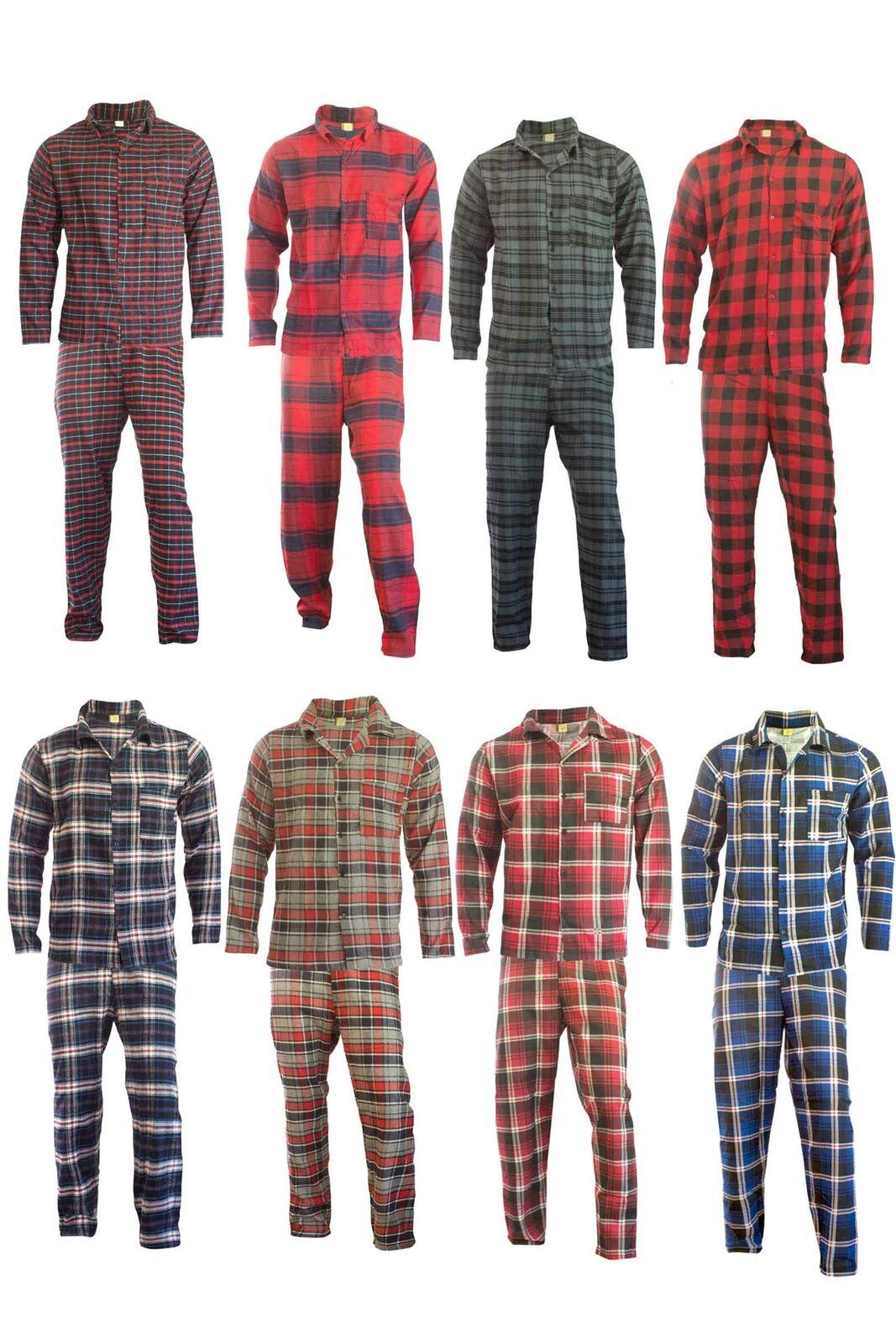 Herren Flanell Pyjama 2-teilig Schlafanzug Lang Oberteil + Hose Warm & Weich