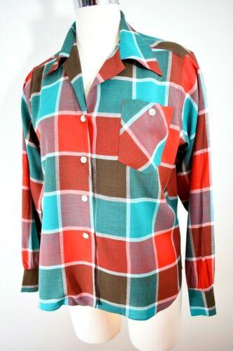 40s 50s VTG ~ DEADSTOCK ~ Ship N Shore Blouse ~ RED / AQUA Plaid Sportswear L 38