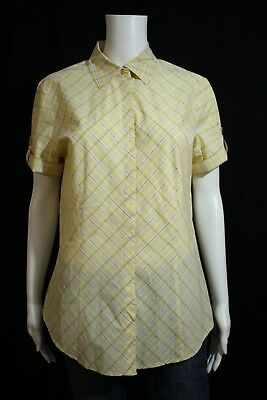 New York & Co Misses LARGE Yellow Brown Plaid SS Button Front Blouse Shirt Top
