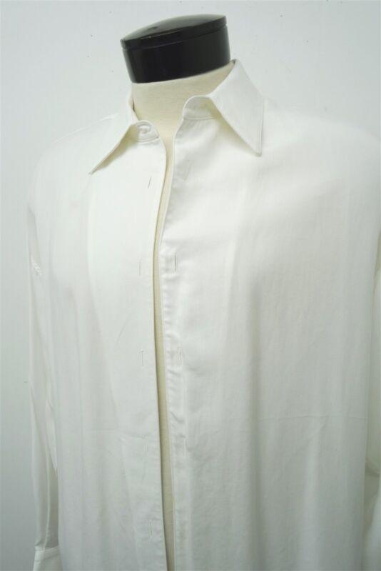 RARE STUBBS WHITE western plain tuxedo shirt front soft one button cuff~ L #6393