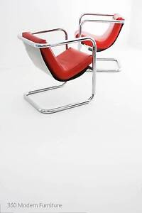 Mid Century Modern Chrome Slingback Armchairs x 2 Retro Vintage Narre Warren Casey Area Preview