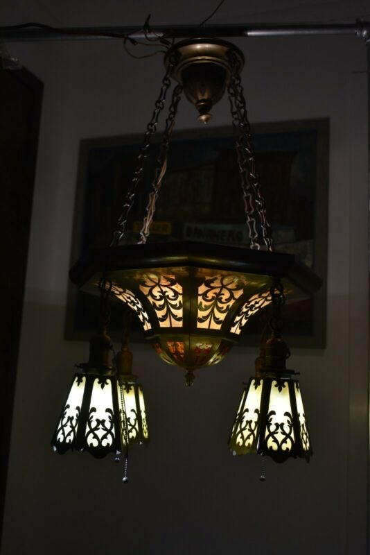 BRASS  AND STAINED GLASS ARTS AND CRAFTS CEILING LIGHT FIXTURE