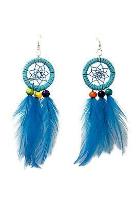 Kostüm Accessoires Ohrringe Dreamcatcher türkis Federohrringe Hippie Indianer