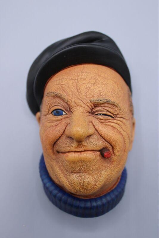 "Bossons Chalkware Head ""Boatman""  Cigar Black Hat 1967 England"