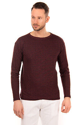 RRP €140 ROBERTO COLLINA Jumper Size 48 / M Linen Blend Striped Made in Italy