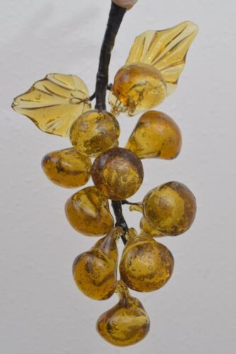 Vintage Hand Blown Glass Yellow Grape w Leaves Clusters Mid Century Modern