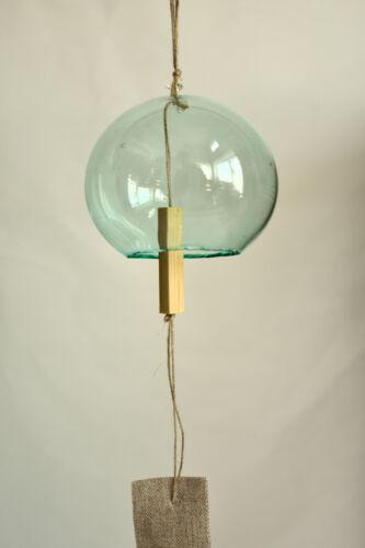 Japanese Handmade Glass Wind Bell Edo Furin with Kyoto Bamboo and Hemp