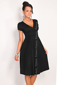 ♥ Elegant Womens Dress V Neck ♥ Short Sleeve Knee Lenght Tunic Sizes 8 - 18 8416