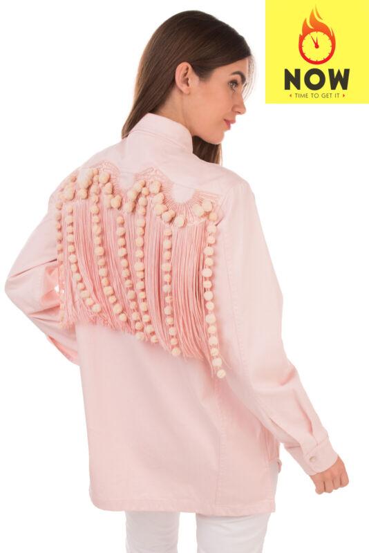 RRP €1360 N°21 Denim Jacket Size 40 / S Pom Pom Long Fringe Embroidered Cut Out