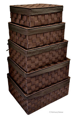 (Set 5 Brown Nesting Home Storage Lidded Basket Bins Chests w/ Fabric Lining)