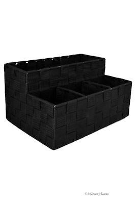 Black Nylon Weave Condiment Holder Caddy Organizer Basket Holder