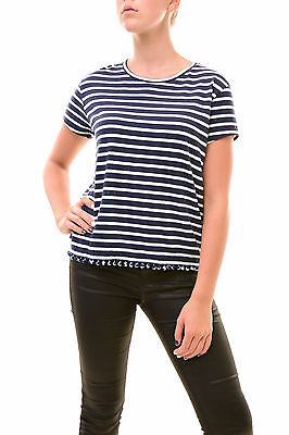 Sundry Women's Authentic Loose Tee W/Trim Striped Navy Size US 1 RRP $80 BCF77