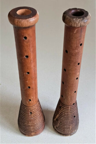 "Pair 2 Vintage Wooden Mill Spools Textile Thread Bobbin Spindles Industrial 12"""