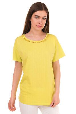 JIJIL T-Shirt Top Size M Green Rhinestones Short Sleeve Round Neck