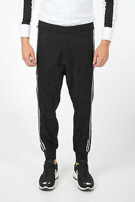 NEIL BARRETT men Trousers 48 IT Black Slouch Fit Drawstring Piping Pants Blac...