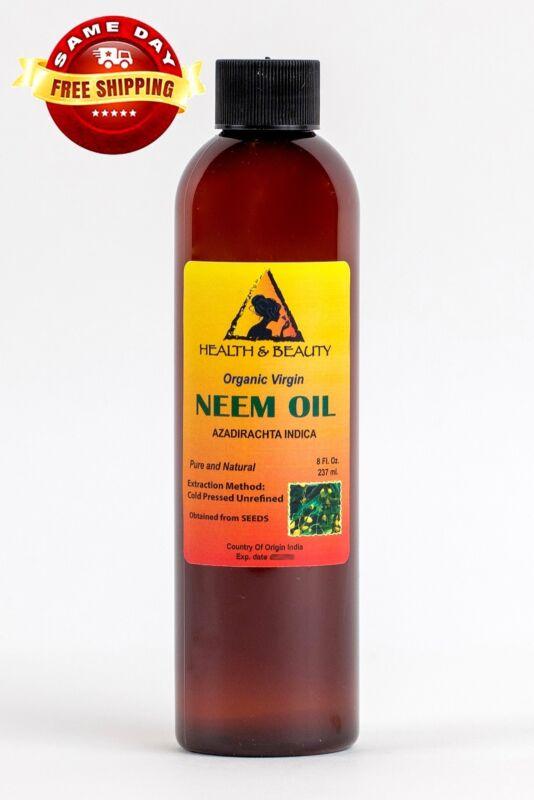 NEEM OIL ORGANIC UNREFINED VIRGIN by H&B Oils Center COLD PRESSED RAW PURE 8 OZ