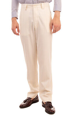 RRP €305 SUNNEI Flat Front Trousers Size S Ivory Button Fly Made in Italy