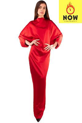 RRP €1015 CHALAYAN Satin Column Dress Size 44 / L Batwing Sleeve Stand Up Collar
