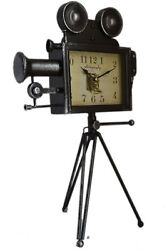 Large 19 Black Antique-Style Movie Camera With Tripod Tabletop Mantel Clock